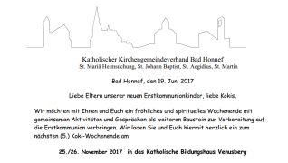Einladungsflyer KoKiWochenende 2017